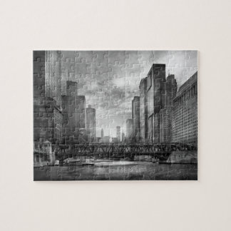 City - Chicago, IL - Looking toward the future BW Jigsaw Puzzle