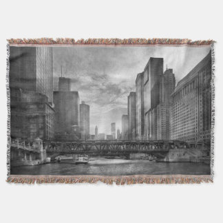 City - Chicago, IL - Looking toward the future BW Throw Blanket