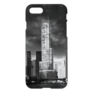 City - Chicago IL - Trump Tower BW iPhone 8/7 Case