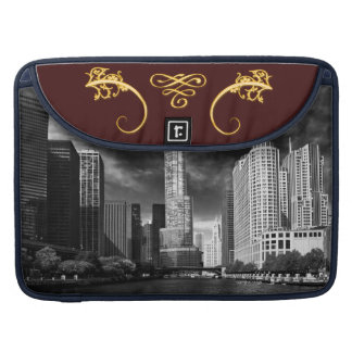 City - Chicago IL - Trump Tower BW MacBook Pro Sleeve
