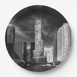 City - Chicago IL - Trump Tower BW Paper Plate