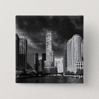 City - Chicago IL - Trump Tower BW Pinback Button