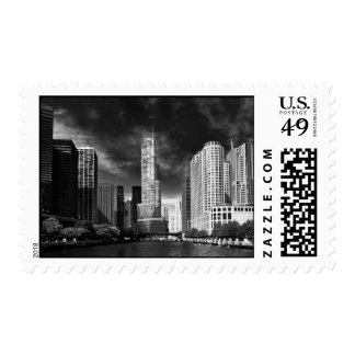 City - Chicago IL - Trump Tower BW Postage Stamp