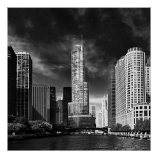 City - Chicago IL - Trump Tower BW Poster
