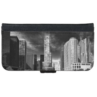 City - Chicago IL - Trump Tower BW Wallet Phone Case For iPhone 6/6s