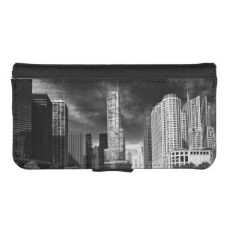 City - Chicago IL - Trump Tower BW Wallet Phone Case For iPhone SE/5/5s
