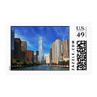 City - Chicago IL - Trump Tower Postage Stamp