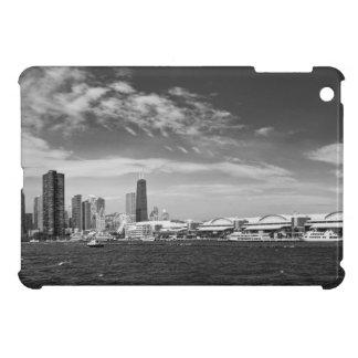 City - Chicago Skyline & The Navy Pier BW iPad Mini Cases