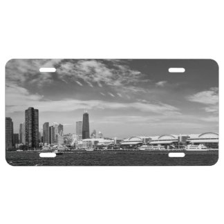 City - Chicago Skyline & The Navy Pier BW License Plate