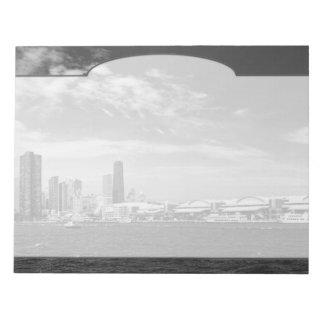 City - Chicago Skyline & The Navy Pier BW Notepad