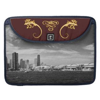 City - Chicago Skyline & The Navy Pier BW Sleeves For MacBooks
