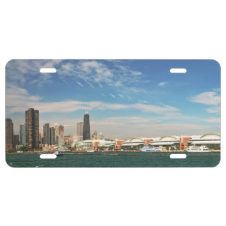 City -  Chicago Skyline & The Navy Pier License Plate