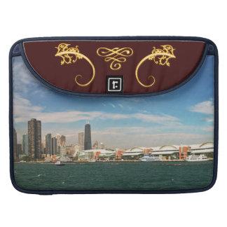 City -  Chicago Skyline & The Navy Pier Sleeve For MacBooks