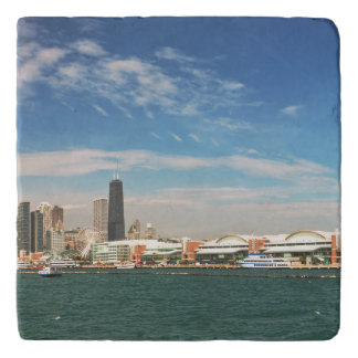 City -  Chicago Skyline & The Navy Pier Trivet