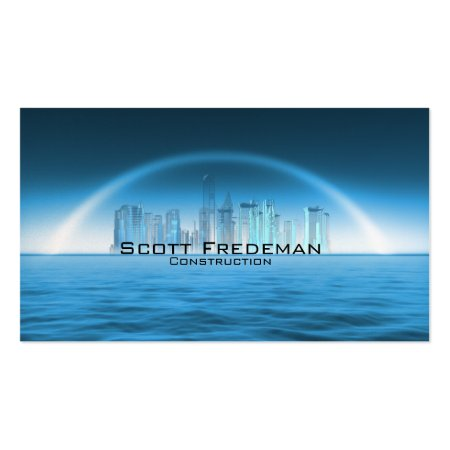 Blue Waterfront City Construction Business Cards Template