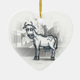 city cow Double-Sided heart ceramic christmas ornament