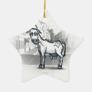 city cow Double-Sided star ceramic christmas ornament