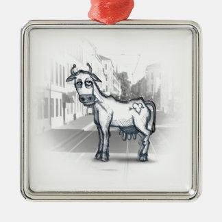 city cow square metal christmas ornament