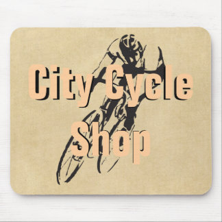 City Cycle Shop Personalized Bike Racing Mouse Pad
