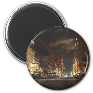 City - Dallas TX - Elm street at night 1941 Magnet