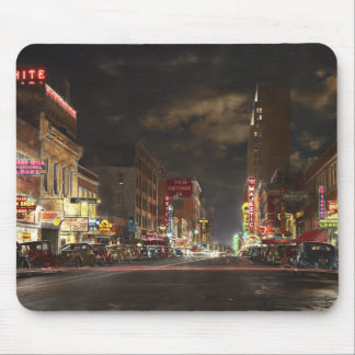 City - Dallas TX - Elm street at night 1941 Mouse Pad