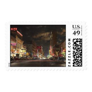 City - Dallas TX - Elm street at night 1941 Postage