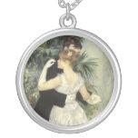 City Dance by Pierre Renoir, Vintage Fine Art Round Pendant Necklace