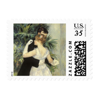 City Dance by Renoir, Vintage Impressionism Art Postage Stamp