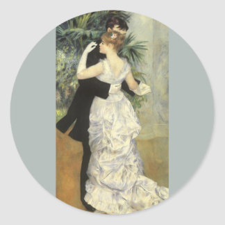 City Dance by Renoir Vintage Impressionism Art Round Stickers
