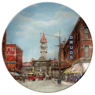 City - Denver Colorado - Welcome to Denver 1908 Porcelain Plate
