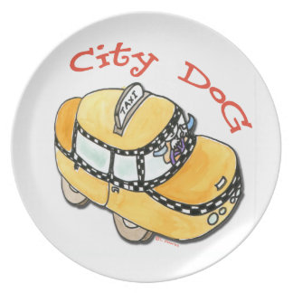 City Dog Melamine Plate