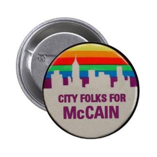 City Folks for McCain Pinback Button