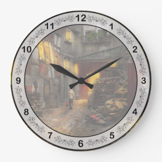 City - Germany - Alley - Coming home late 1904 Large Clock