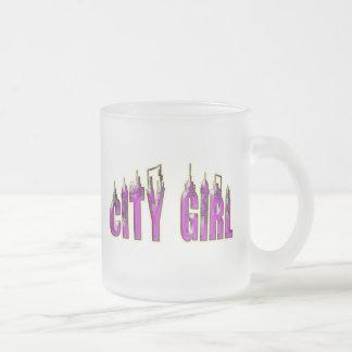 CITY GIRL FROSTED GLASS COFFEE MUG