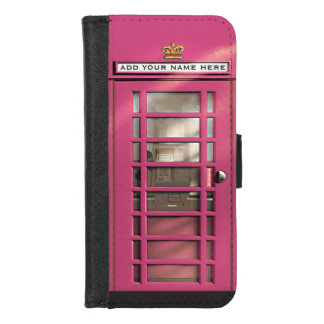 City Girl Funny Pink British Phone Booth iPhone 8/7 Wallet Case