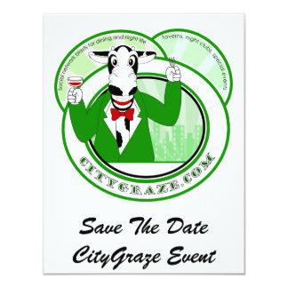 City Graze Green 4.25x5.5 Paper Invitation Card