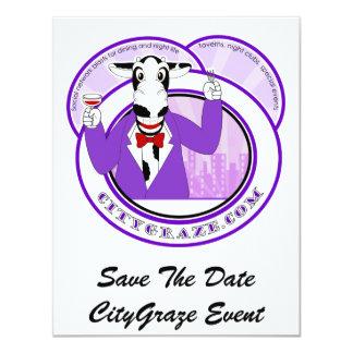 City Graze Purple 4.25x5.5 Paper Invitation Card