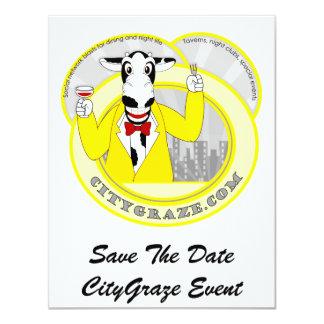 City Graze Yellow 4.25x5.5 Paper Invitation Card