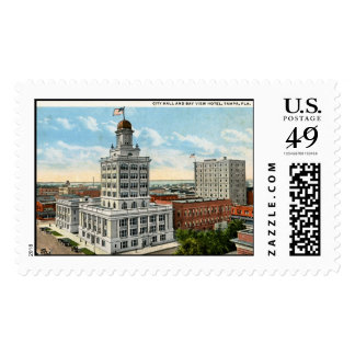City Hall and View of Tampa, 1923 Vintage Postage