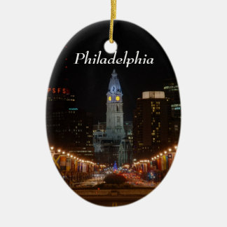 City Hall Double-Sided Oval Ceramic Christmas Ornament
