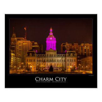 City Hall In Purple - Charm City - Baltimore Poster