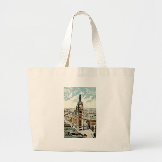 City Hall Milwaukee WI Repro Vintage 1911 Large Tote Bag