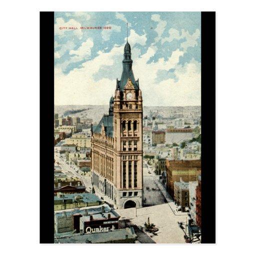 City Hall Milwaukee WI Vintage 1911 Postcard