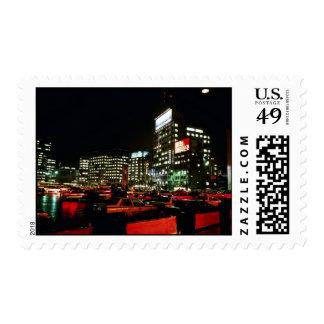 City Hall Plaza At Night Postage Stamp
