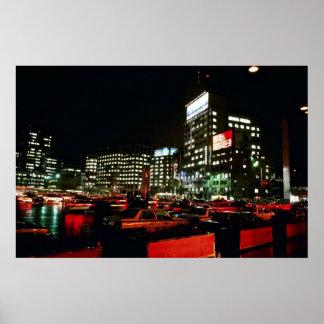 City Hall Plaza At Night Poster