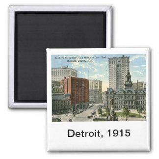 City Hall Square, Detroit MI 1915 Vintage 2 Inch Square Magnet