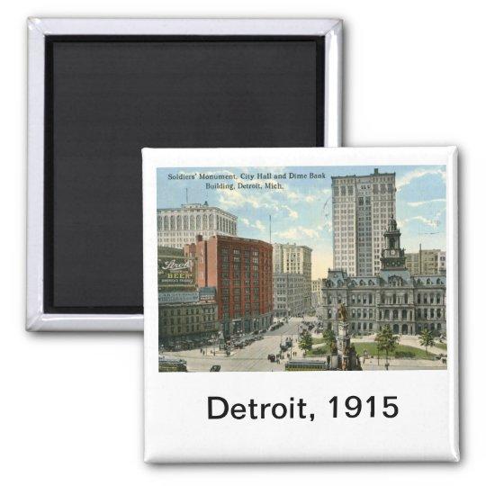 City Hall Square, Detroit MI 1915 Vintage Magnet