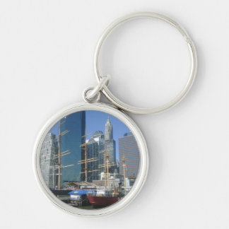 City Harbor Boats Silver-Colored Round Keychain