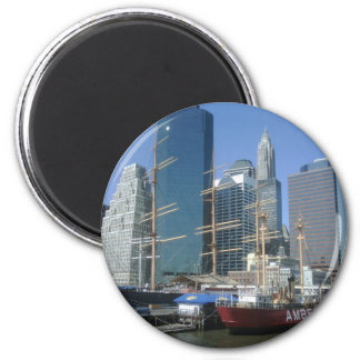 City Harbor Boats 2 Inch Round Magnet