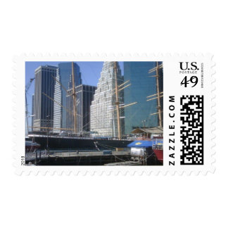 City Harbor Boats Postage Stamp